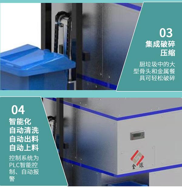 5吨全自动厨余垃圾粉碎处理设备工艺流程图